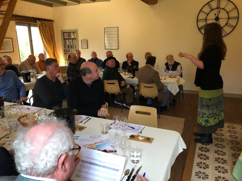 Chevaliers learning about Languedoc-Roussillon food and wine from Emma Kershaw in her salon Carcassonne Wine Excursion