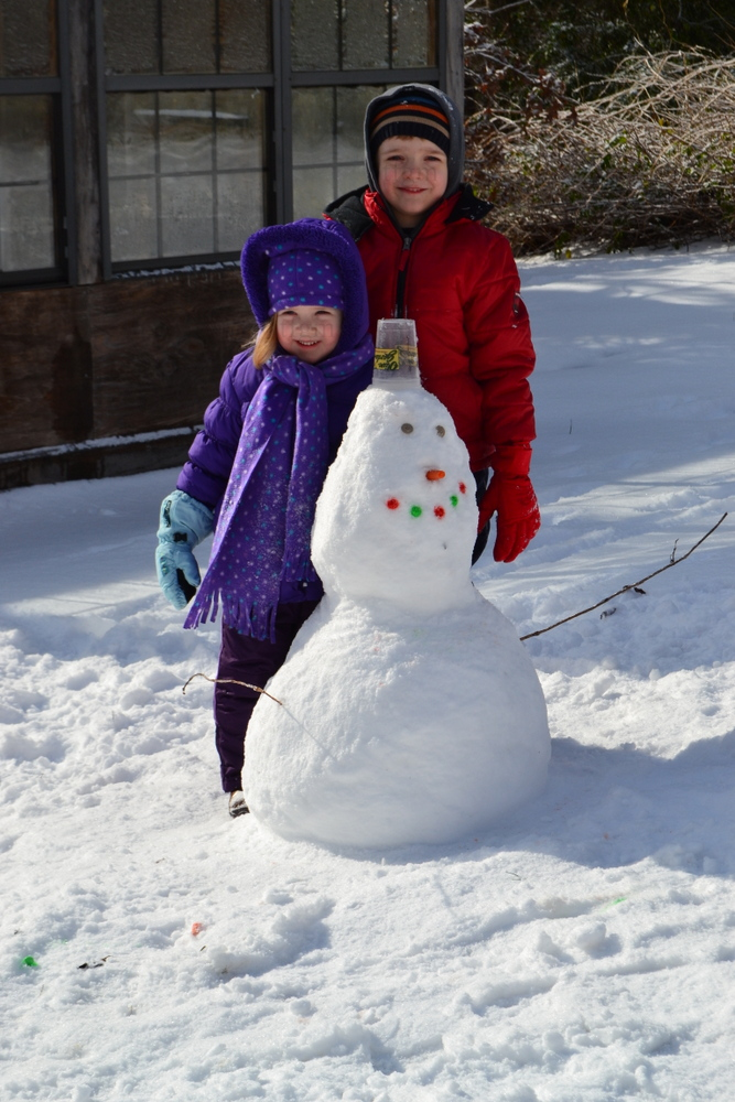 snowman with kids