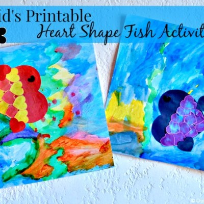 Kid's Heart Shape Fish Printable Activity