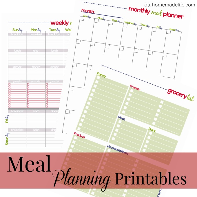 budget to save money with meal planning printables