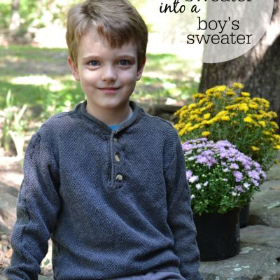 Repurpose Project: Men's Sweater into a Boy's Sweater