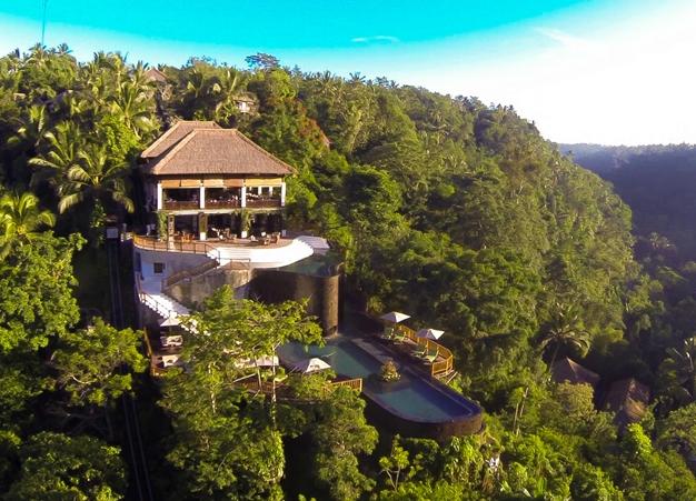 Aerial Views of Hanging Gardens Ubud Bali