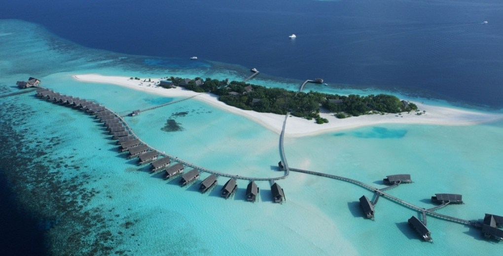 Aerial view of Cocoa Island by COMO Hotels Maldives