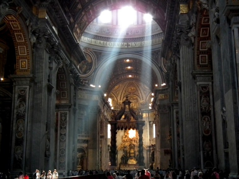 Dramatic rays of light in St. Peter's Basilica