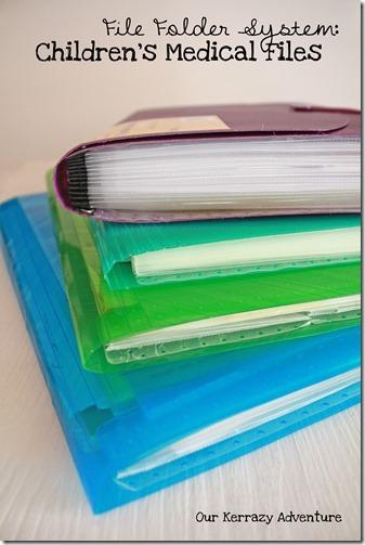 File Folder System for Children's medical files