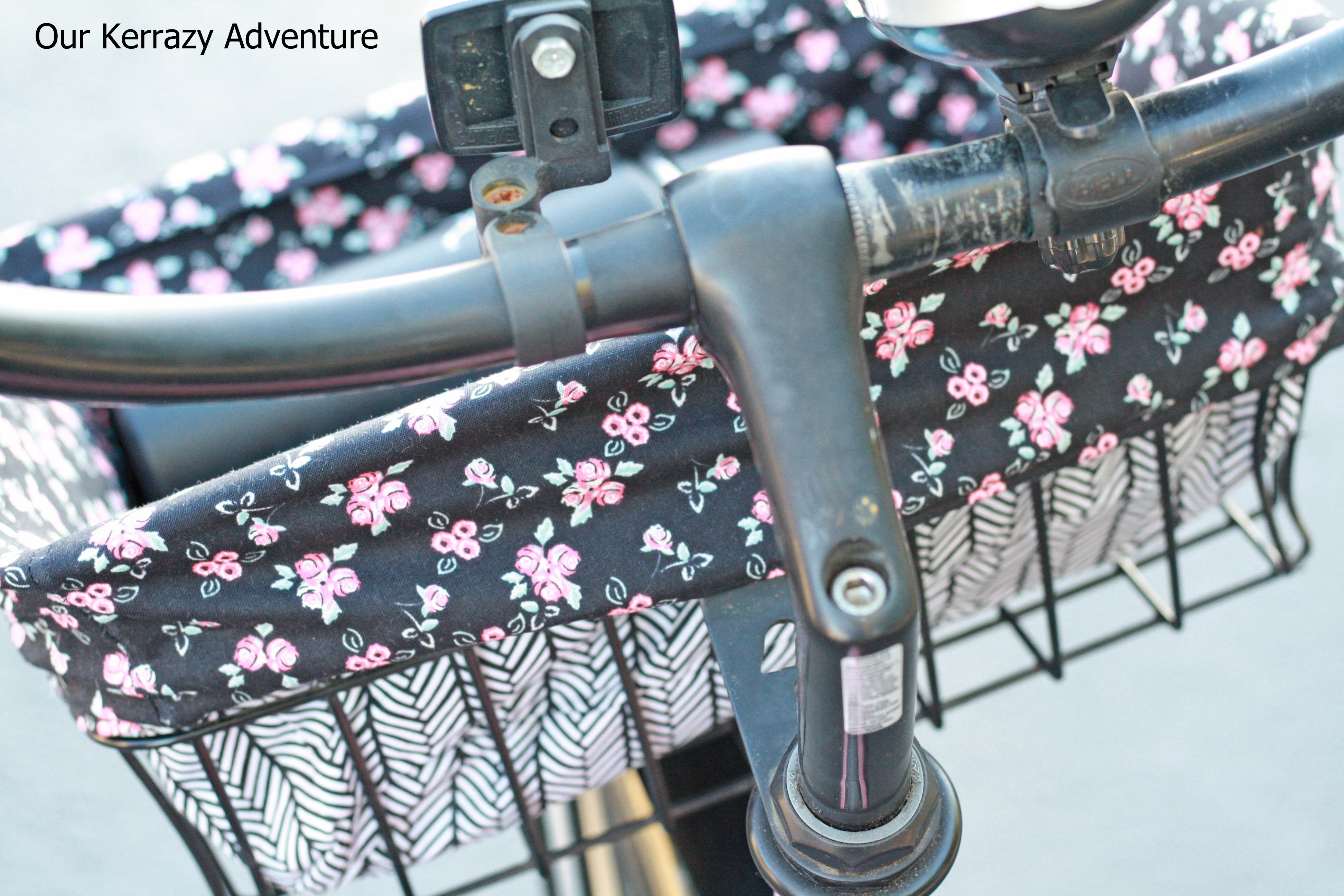 Diy bicycle basket liner tutorial our kerrazy adventure.