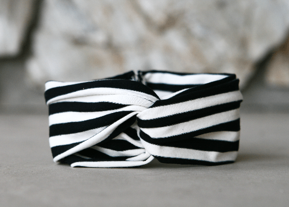 DIY Christmas Gifts Handmade Twisted Headband Black and White Stripes
