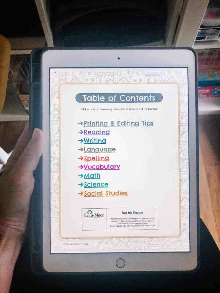 Table of Contents Homeschool Curriculum Planner by Evan-Moor