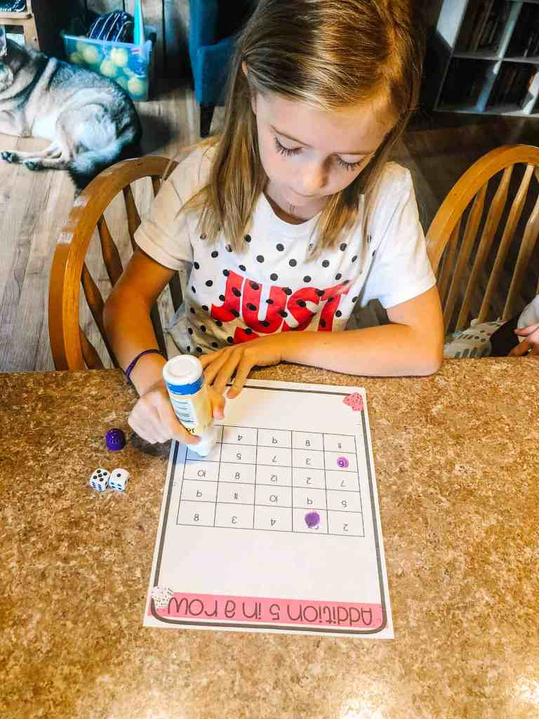 Using bingo daubers for dice games