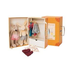 Moulin Roty rejsekuffert med bamse og tøj kuffert børnekuffert our Little toyshop