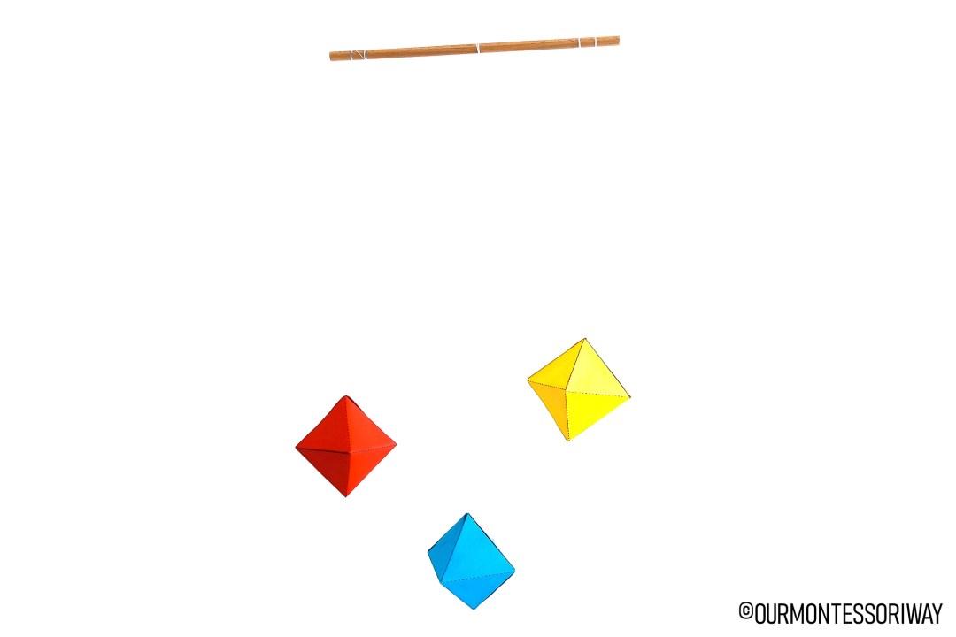 Montessori Oktaeder Mobile selber machen