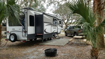 Our truck and trailer at site C11 in Peace River RV Park just south of Wauchula, FL