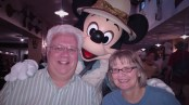 Mickey Mouse, Mark and Katrina at the Animal Kingdom Tuckers House Character Dinner, February 8, 2018