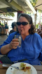 Deina enjoying the weather and fruity drinks at Rumba Grill outdoors just before her flight home from Tampa