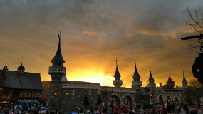 Sunset over Fantasyland on our last magic night at Magic Kingdom