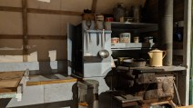 """Not an """"RV"""" because it was far from recreational, the kitchen of a sheepherders wagon at Washakie Museum, Worland, WY"""