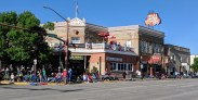 The front of the Irma Hotel, built by Buffalo Bill for his daughter