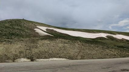 Still snow on the hills along US Alternate Highway 14