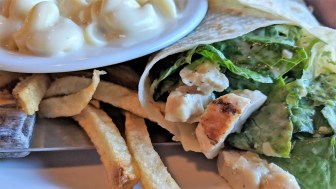 Caesar Chicken Sandwich Lefse Wrap with homemade mac and cheese