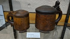 Carved Tankards donated to Norksedalen by Ray and Laura Brye Aune (left)