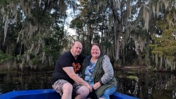 Jason and Barb with http://bayoubadboysbowfishing.com/ in the bayou outside of Lafitte, LA