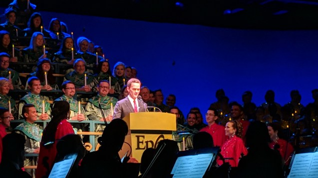 Our favorite narrator at the Candlelight Processional has been Neil Patrick Harris. This particular program was live streamed by Disney for the first time and is now available for viewing on YouTube.