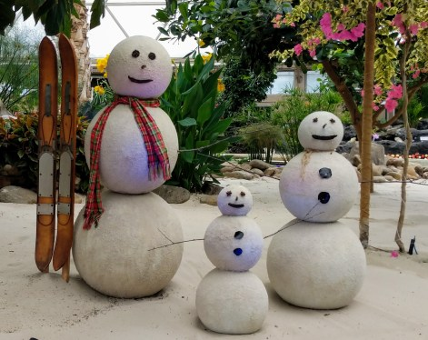 No snow in sight, thankfully, so the Epcot the Living with the Land staff have sand people instead to celebrate.