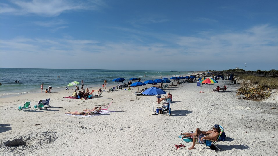 The white sands on the Gulf of Mexico north of Tampa Bay on the Honeymoon Island State Park beach
