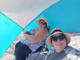 Barb and Deina (right) at Honeymoon Island State Park Beach
