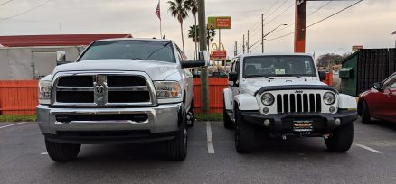 In a parking lot we parked next to a RAM 2500 and it gives you a good comparison to what we were driving daily to what we have now. It is much easier to maneuver the Jeep around on a daily basis.