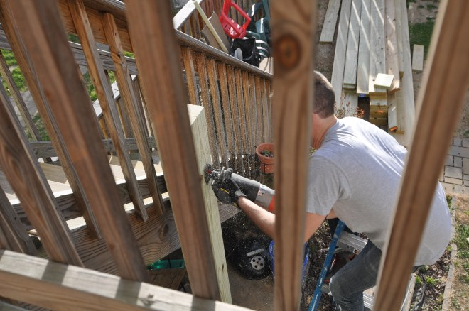 back deck cutting timbers crossbeam