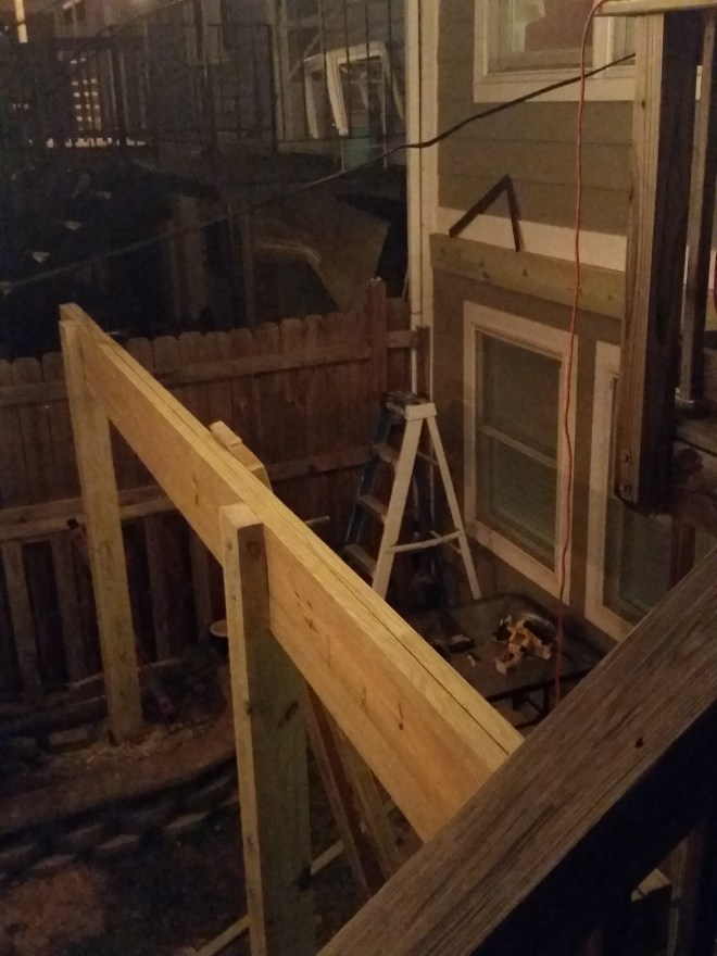 back deck first day crossbeam joists