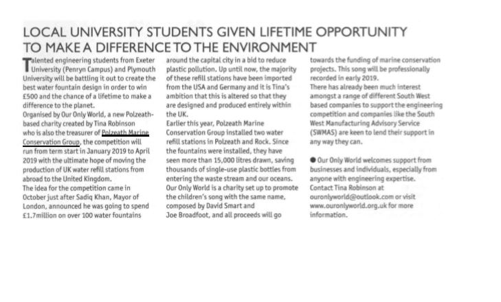 Magazine article for engineering competition