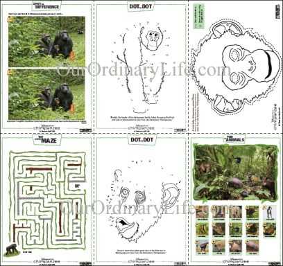 Disneynature Chimpanzee Activities Sheets