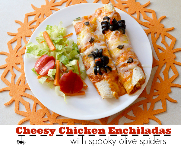 Cheesy Chicken Enchiladas With A Spooky Spider On Top