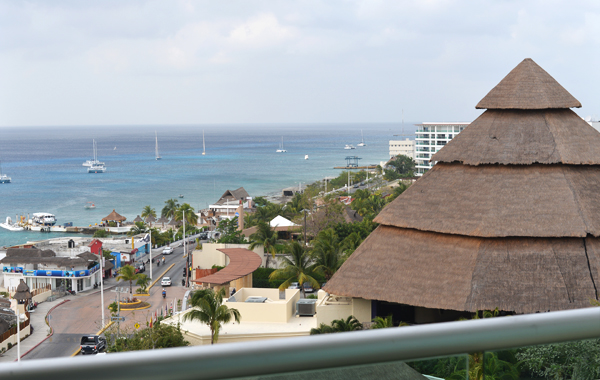 Park Royal Cozumel Mexico Room view towards coean and downtown during evening