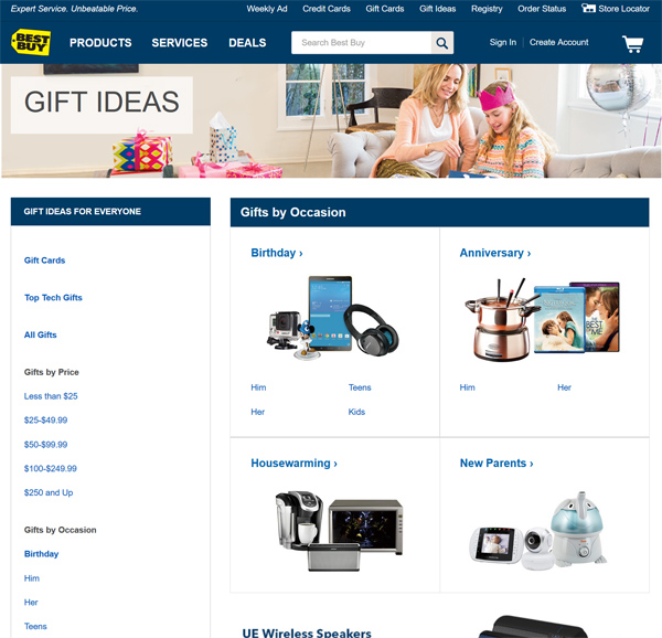 best buy gift ideas page
