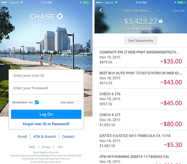 Chase Online mobile