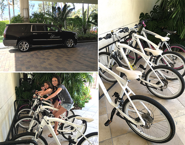Fairmont Hotel Newport Beach California free BMW bike rentals cadillac transport