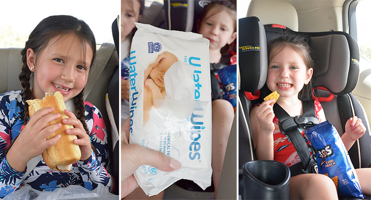 WaterWipes water towels eating in car