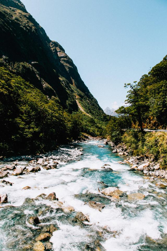 Rushing water over the rocks with extreme clarity - Milford Sound itinerary
