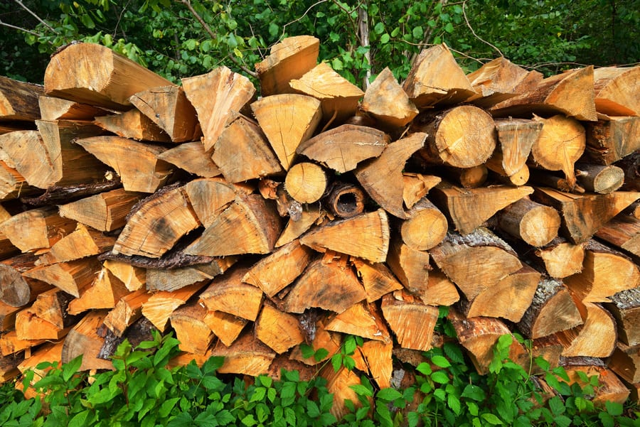 a neatly stacked pile of firewood