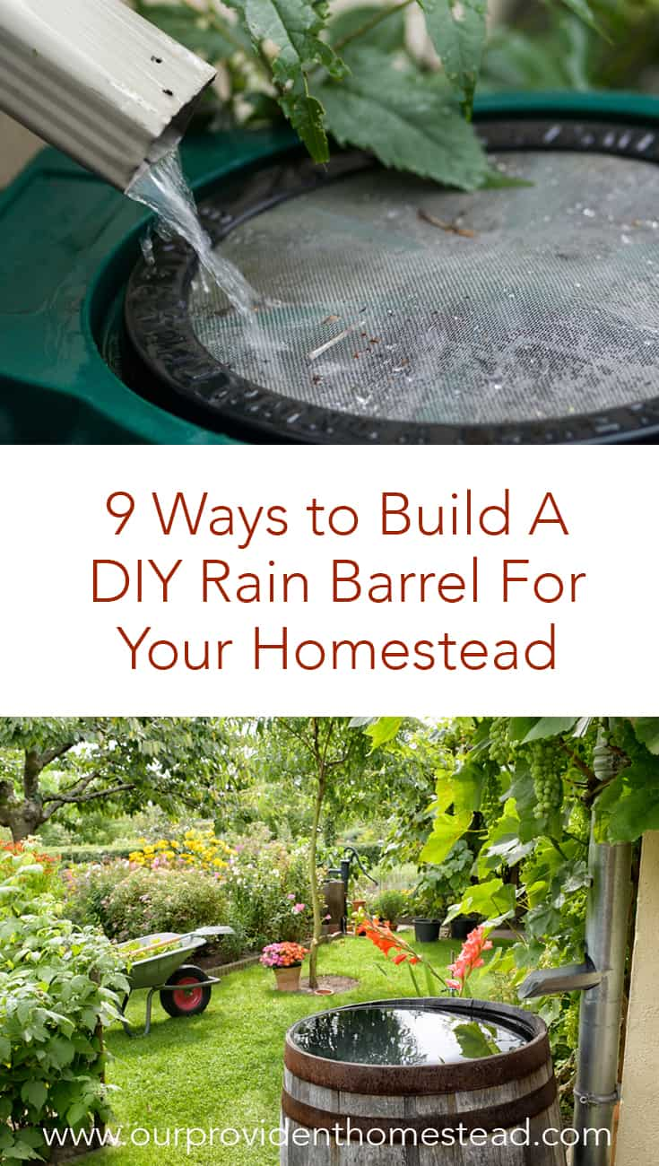 Are you looking for a cheaper way to water your garden and yard? Click here to see 9 ways to build a DIY rain barrel for your homestead and save money and water this year! #rainbarrel #homestead #homesteading