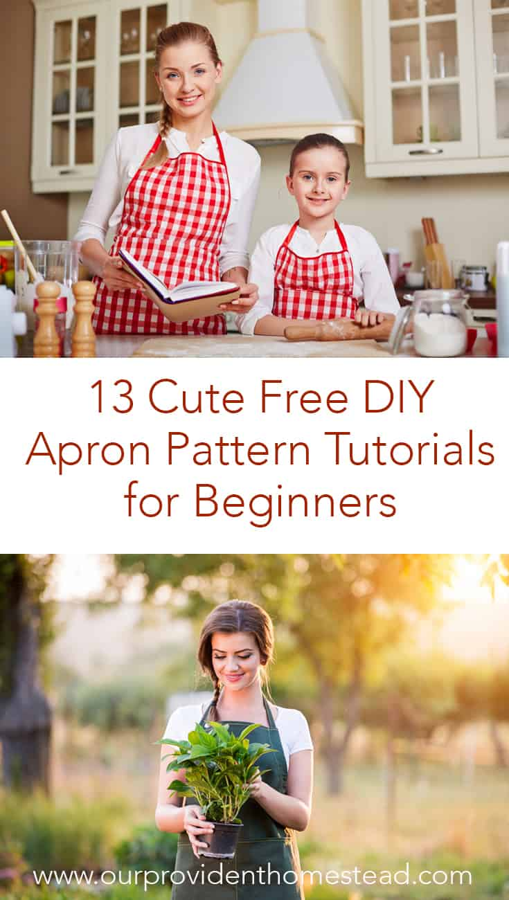 Do you want to have a pretty apron to do chores around the house, but aren't good at sewing? Click here to see 13 DIY apron patterns you can make today! #sewing #homesteading #aprons #apronpatterns #beginnersewing