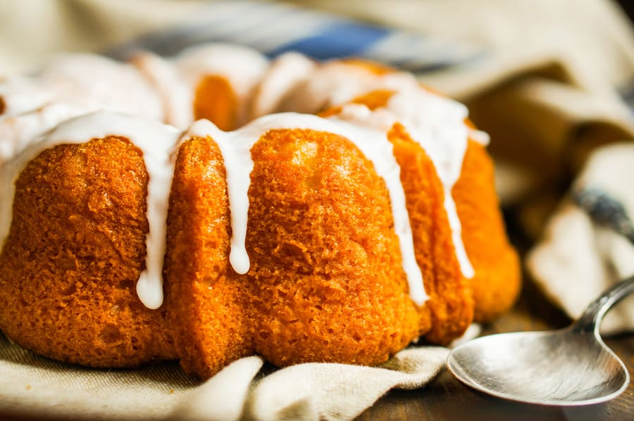 pumpkin bundt cake with white icing