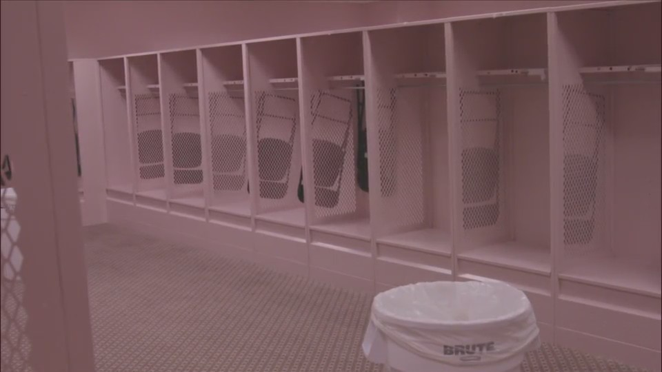Kinnick's Pink Visitors Locker Room