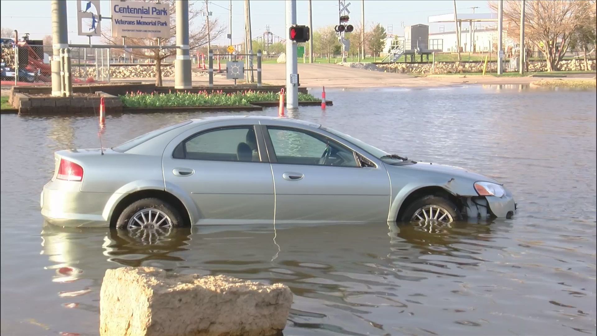 Car stuck in water
