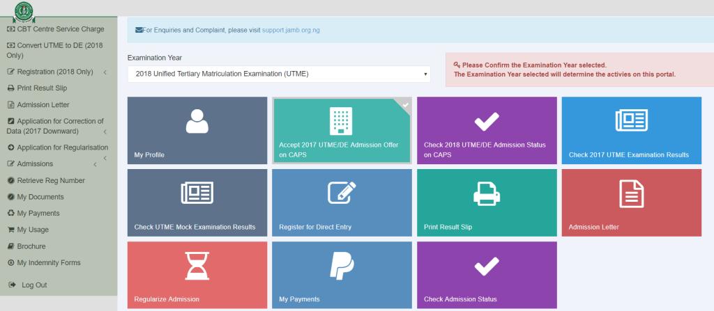 Jamb Caps Admission Status portal