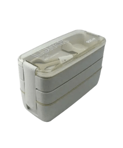 Beige - Eco-Friendly Wheat Straw 3 Layer Lunch Box - Food Container