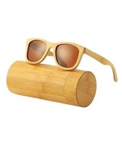 Brown - UV400 Polarized Bamboo Sunglasses -Blues Wrap